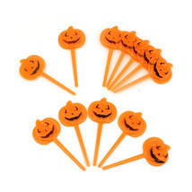 Halloween Orange Pumpkin Party Cupcake Appetizers Pick Toppers Decorations - €3,97 EUR+