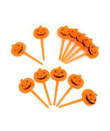 Halloween Orange Pumpkin Party Cupcake Appetizers Pick Toppers Decorations - £3.50 GBP+