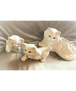3 Vintage Persian Cats Ceramic White Kitty Kittens Blue Eyes Planter No Damage - $35.63