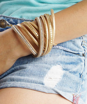 Black Wrap Cuff, Gold Vegan Leather MultiStrand Chain and Sequins Magnetic Clasp - $11.20