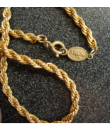 Napier Gold Tone Twisted Rope Style Necklace - ... - $12.00