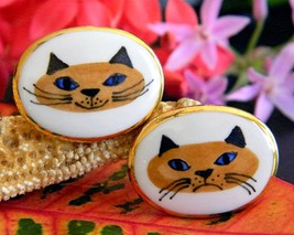 Vintage Victoria Flemming Cats Cufflinks Porcelain Enamel Smile Frown - $49.95