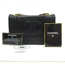 Auth CHANEL Shoulder Bag Black Mini Matelasse Vintage Flap Logo Lambskin... - $1,215.72