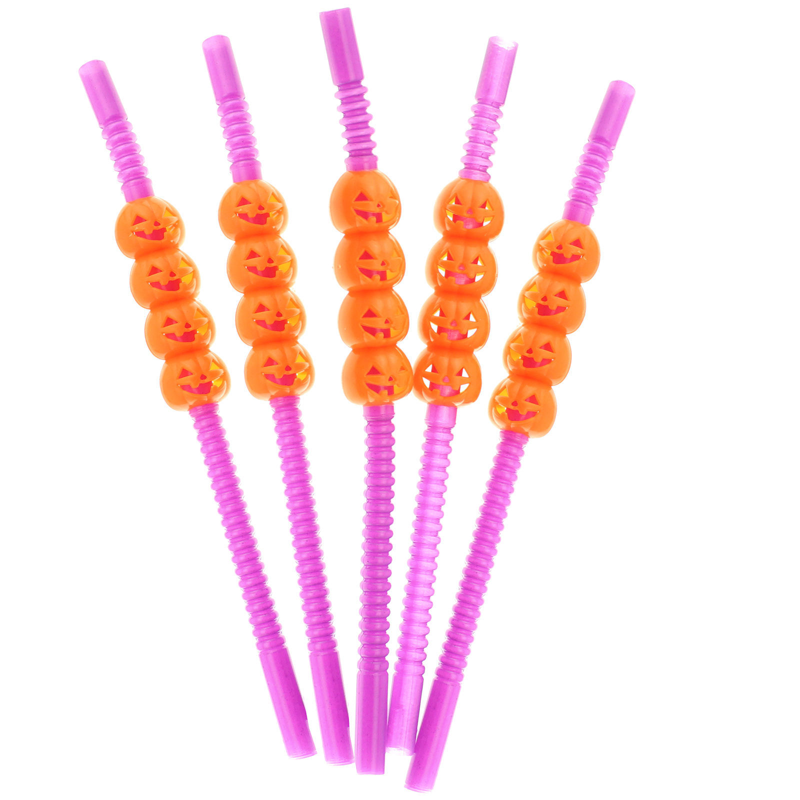 Halloween Party Orange Pumpkin Drinking Straws Spooky Festive Decorations Favors