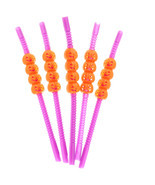 Halloween Party Orange Pumpkin Drinking Straws Spooky Festive Decoration... - $4.49+