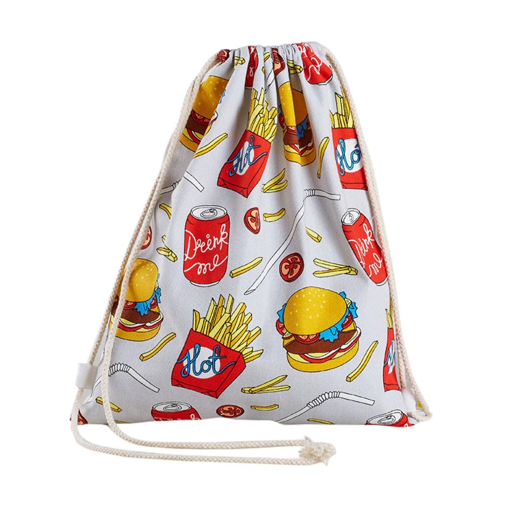 2016 new design women backpack solid white drawstring beam port shopping bag travel bag gift bag