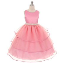 Rose Satin and Organza Flower Girl Dress Bridesmaid Wedding Birthday Par... - $52.00