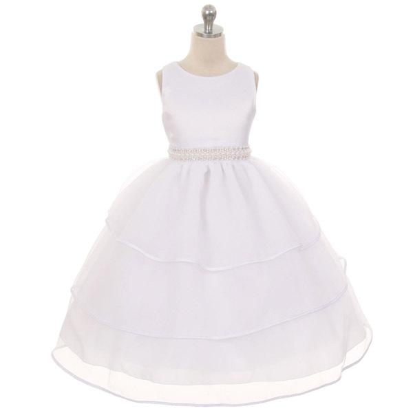 Rose Satin and Organza Flower Girl Dress Bridesmaid Wedding Birthday Party Prom