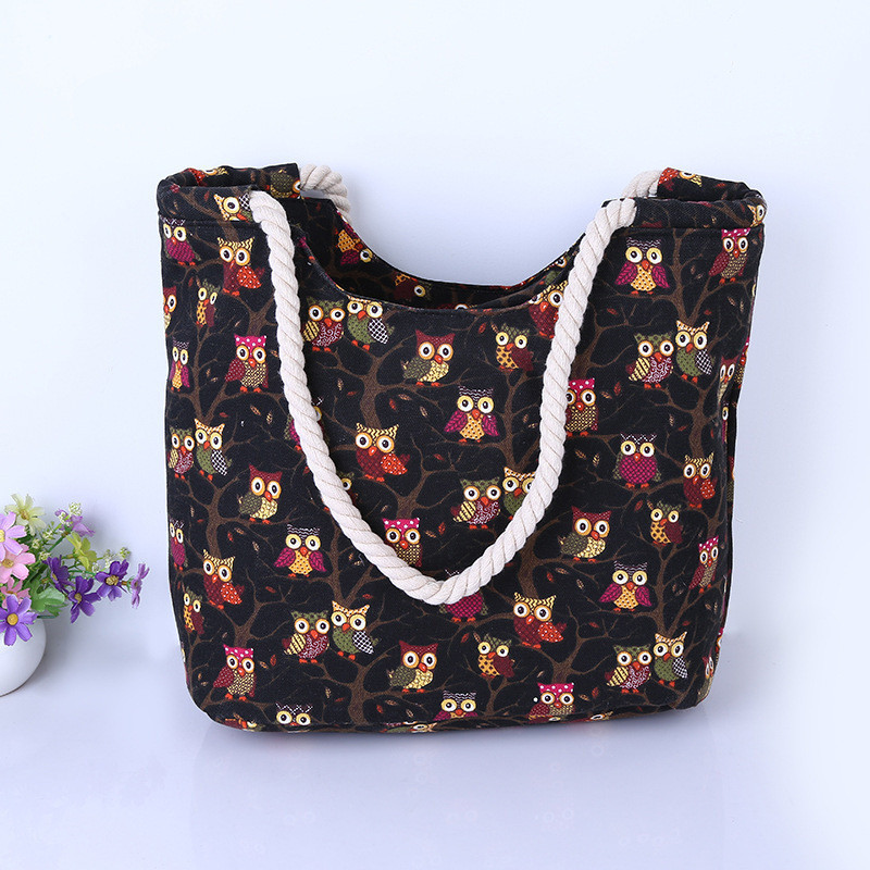 Fashion owl printed handbag canvas bag female casual tote women shopping shoulder bag bolsos sac