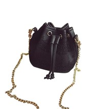 Drawstring bucket bagLace pu leather one shoulder cross-bodys handbags - $25.23