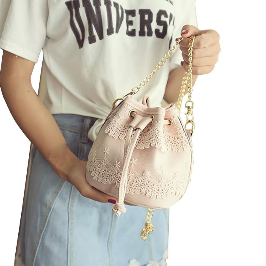 Ion 2016 candy color fashion drawstring bucket bag women lace pu leather one shoulder cross body