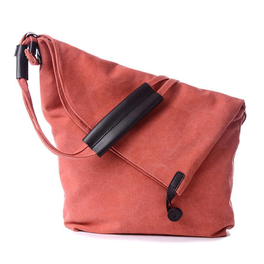 Fashion simple style casual canvas messenger shouder handbag tote weekender button shoulder bags