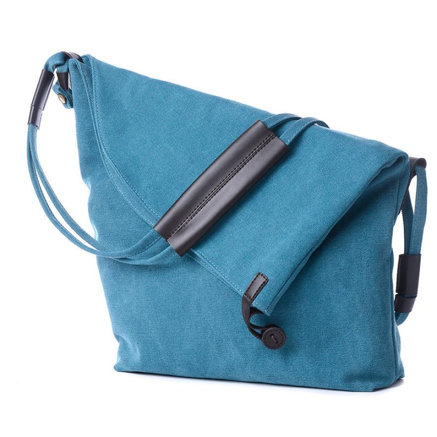 Simple Style Casual Canvas Messenger Shouder Handbag Tote Weekender Button Shoul