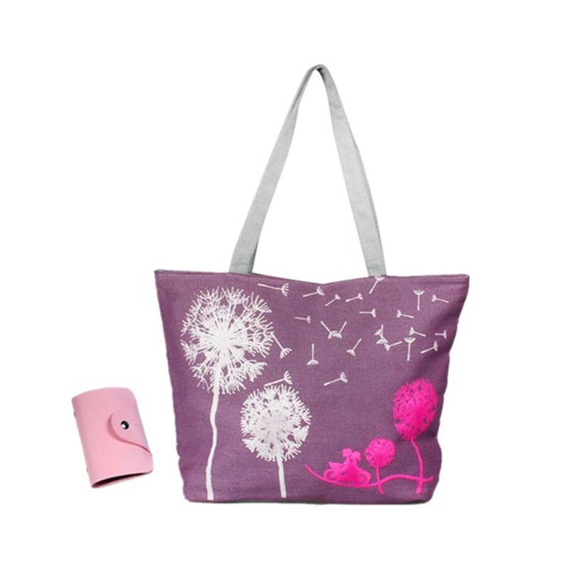 N canvas handbag shoulder beach bag satchel shopping messenger dandelion including a card holder