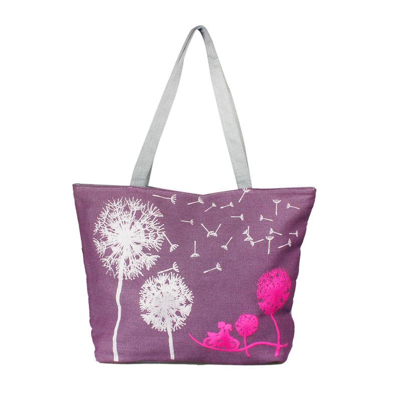 N canvas handbag shoulder beach bag satchel shopping messenger dandelion including a card holder