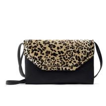 clutch bagsleather shoulder bag europeans black spain bag leopard handbag - $15.55