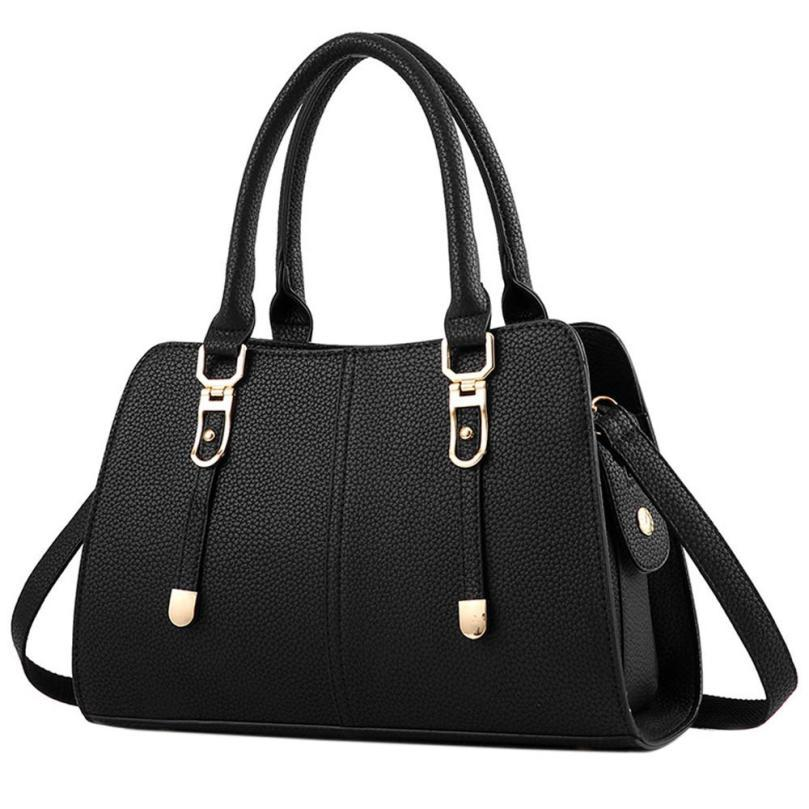 Large Capacity Luxury Vintage Pu LeatherHandbagHandle Tote Bags For