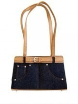 Frijja Handbag - Denim with Belt Accent and Bei... - $11.87