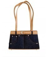 Frijja Handbag - Denim with Belt Accent and Beige Trim NWT - $11.87