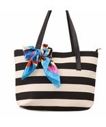 Bags Shoulder Bag Tote Stripe Silk Scarf Canvas Casual Handbag big bags - $18.15