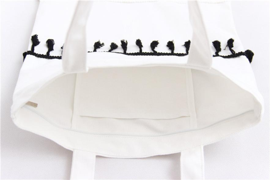 Anvas shoulder ladies fringed leisure school shoulder bag bolsas femininas canvas women handbags