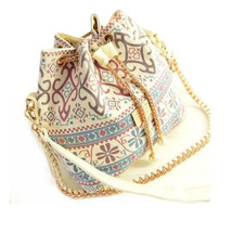 Casualbag chains bucket bag canvas patchworkshoulder bagmessenger bag ha... - $23.94