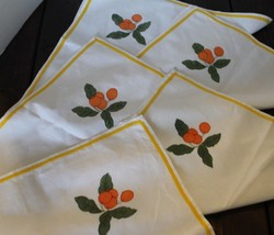 Vintage Lot Of 5 White Linen Table Napkin Embroidered Orange Leaves Yell... - $37.39