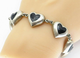 MEXICO 925 Silver - Vintage Black Onyx Love Heart Link Chain Bracelet - B5944 image 1