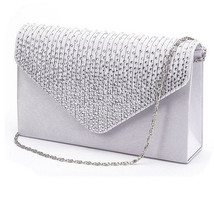 Large Evening Satin Bridal Diamante Clutch Bag Party Prom Envelope Femal... - $26.94