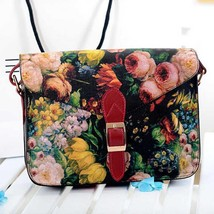 s Bag Painting Flowers Leather spain Handbag Tote Bags PurseShouldermess... - $27.30