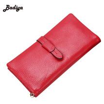 Solid Wallets Leather Purses Long WalletElegant Female Reds Wallets - $32.43