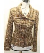 Classic Zara Basic Brown Tweed Women Blazer Medium Wool Blend Cropped Ja... - $38.44
