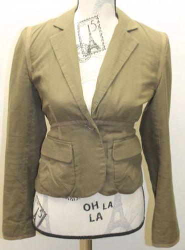 Club Monaco Of Ralph Lauren Group Military Green Women Cropped 0 Blazer Cotton