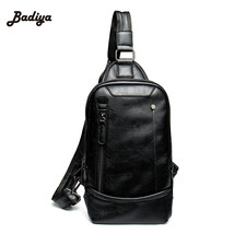 Vintage Solid PU Leather Mens Chest Bag Portable Black Crossbody Bagsmes... - $44.51