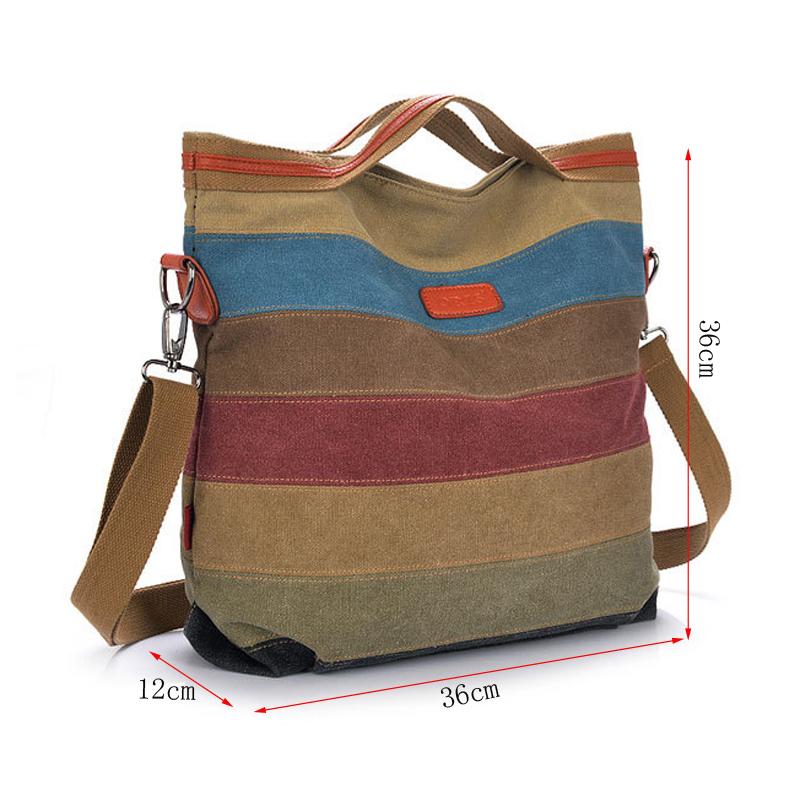 Tripe vintage women shoulder pouch messenger bag women canvas handbag women s handbags patchwork