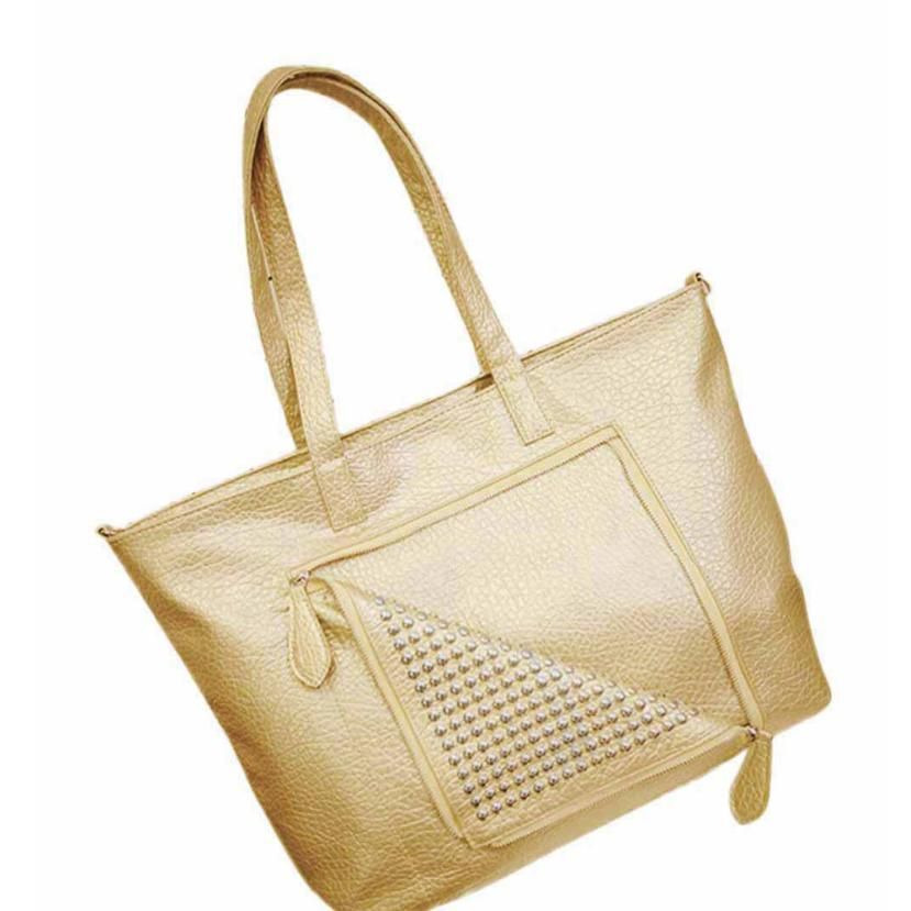 RivetPU Leather Handbag Tasselmessenger bag Vintage Shoulder Bag Large -Handle B