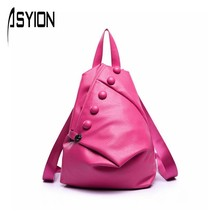 PU Leather Backpack Buttons Backpacks for Teenage Girls Causal Travel Sc... - $54.78
