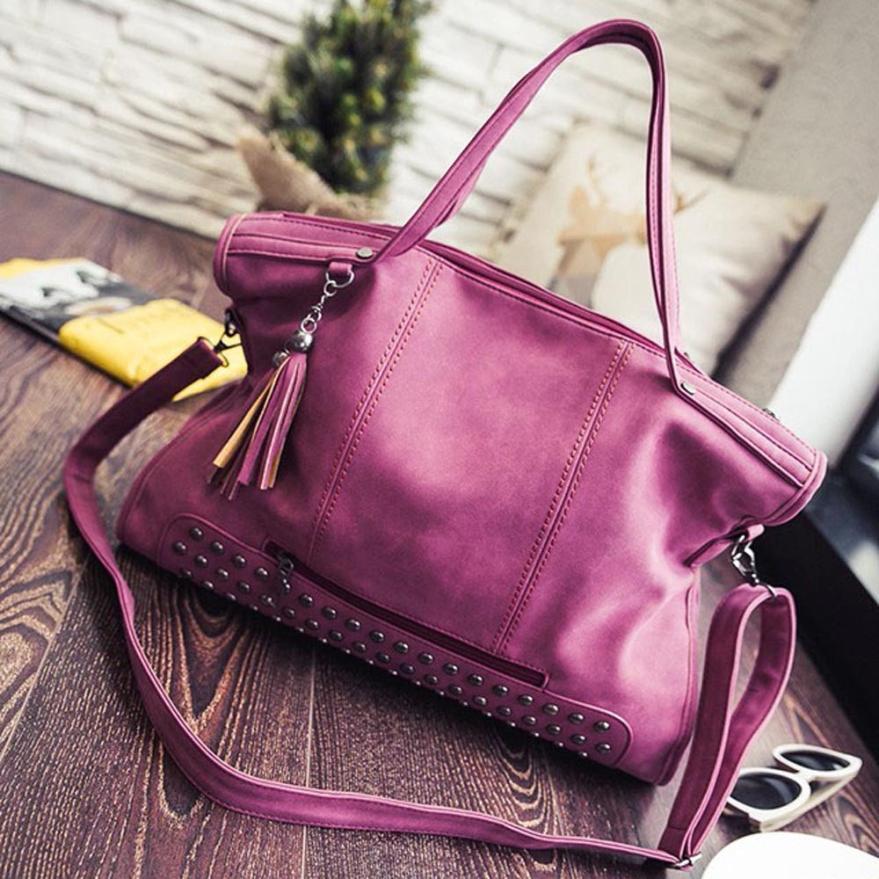 Rivethandbag Shoulder bag Tassel Bag Frostedmessenger Crossbody bag Large capaci