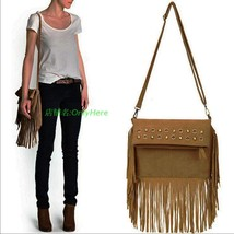 Vintage Female Bags TasselMessenger Bags Rivet Cross Body Shoulder Bags ... - $78.04