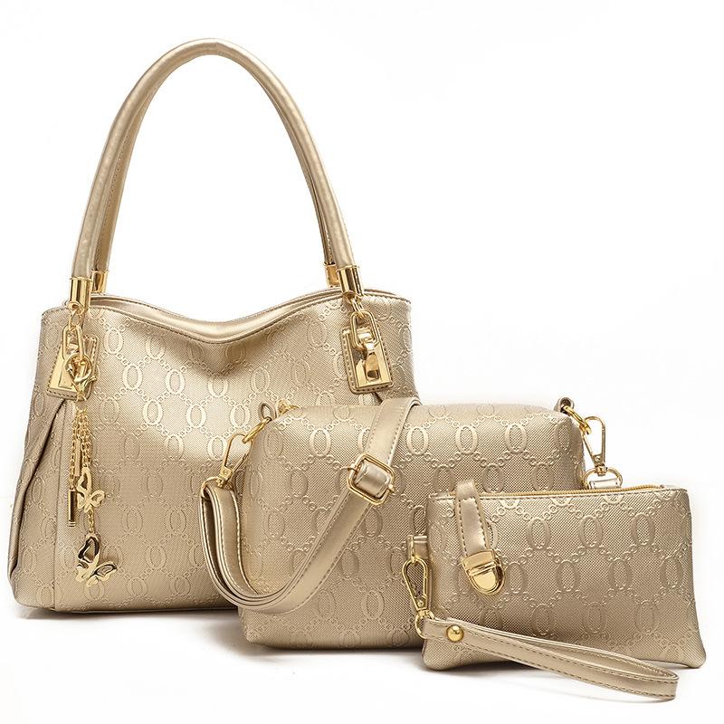 2015 fashion brand 3 sets bags high grade pu leather handbag women vintage tote cow messenger