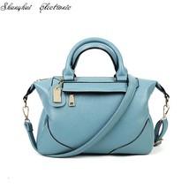 match leatherbag portable oblique satchel pure color PU Boston bag - $86.09