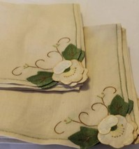 Lot Of 6 Linen Table Napkin Clothe Square Brown Floral Leaves Patch Embr... - $32.71