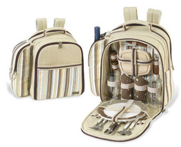 Picnic at Ascot 066SC Santa Cruz Picnic Backpack for 4 Cream Soft Stripe - $56.09