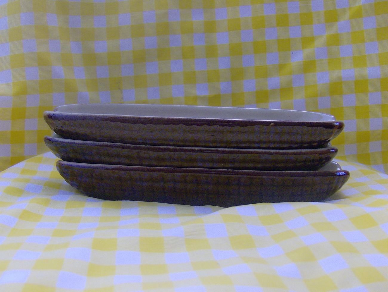 Three Brown and White Terra Cotta Corn Serving Dishes
