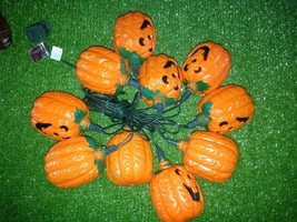 Ten Halloween Jack-O-Lantern with Green Stem Blow Mold Novelty Lights Excellent - $10.88