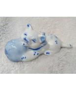Porcelain figurine Cat BLUE And White Playful with Ball Knicknack Shelf ... - $25.00