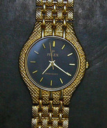 Pelex Gold Black Face Wristwatch Water Resist Qtz - $29.99