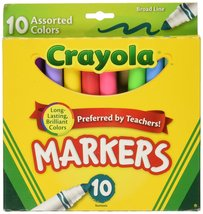 Crayola Broad Line Markers-Assorted Colors 10/Pkg - $2.96