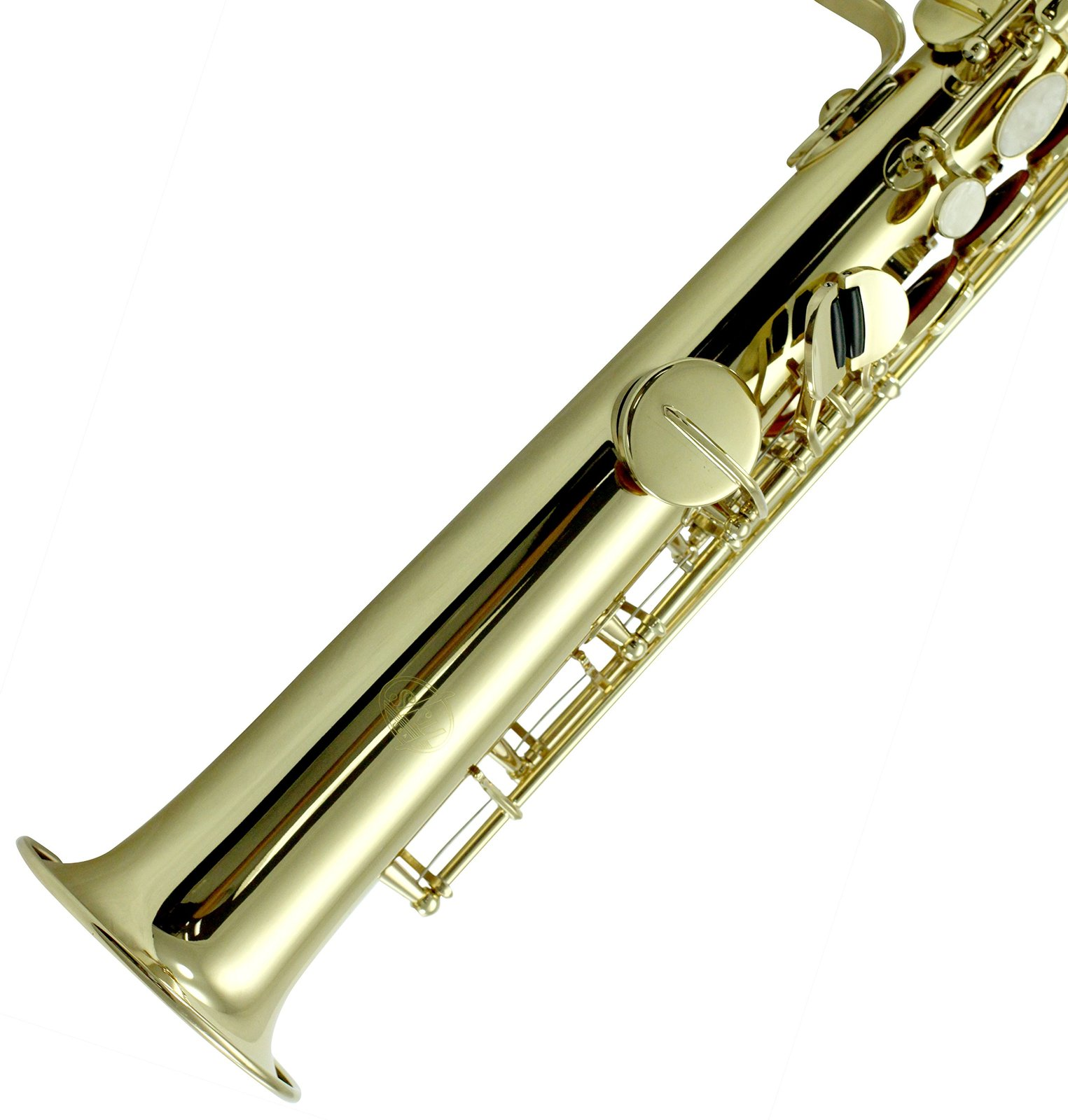 Sky Band Approved Bb Gold Plated Soprano Saxophone with Lightweight Case, Glo...