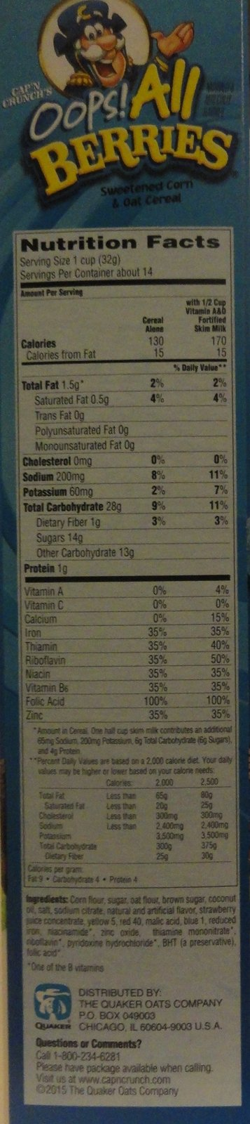Quaker Oats Cap N Crunch Oops All Berries Nutrition Facts You can use fresh or frozen berries, so this recipe is tasty no matter the season! quaker oats cap n crunch oops all